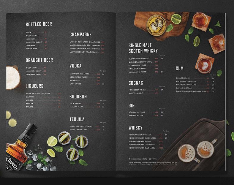 نموذج منيو مطعم